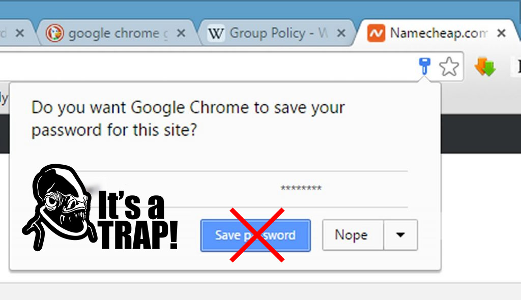 never save passwords laptop security